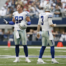 Dallas Cowboys tight end Jason Witten (82) reacts between plays as quarterback Brandon Weeden (3) looks on during the first half of an NFL football game Tuesday, Feb. 11, 2014, in Arlington, Texas. cornerback Patrick Peterson (21) is at right The Associat