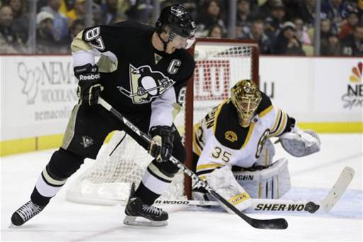 Pittsburgh Penguins center Sidney Crosby (87) works to get a shot off in front of Boston Bruins goalie Anton Khudobin (35)  in the second period of an NHL hockey game in Pittsburgh Tuesday, March 12, 2013