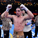 NEW YORK, NY - APRIL 11:  Danny Garcia celebrates after his fight against Lamont Peterson during the Premier Boxing Champions Middleweight bout at Barclays Center on April 11, 2015 in the Brooklyn borough of  New York City.  (Photo by Elsa/Getty Images)