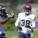 Seattle Seahawks' Richard Sherman, left, reaches for the ball in front of Terrell Thomas at an NFL football camp practice Tuesday, July 29, 2014, in Renton, Wash The Associated Press