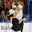 Philadelphia Flyers right wing Wayne Simmonds (17) celebrates his goal against the Tampa Bay Lightning with teammate Brayden Schenn (10) during the first period of an NHL hockey game Thursday, Oct. 30, 2014, in Tampa, Fla The Associated Press
