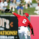 Los Angeles Angels' Erick Aybar reaches out but is unable to make a catch on a pop fly by San Francisco Giants' Brandon Belt during the first inning of a spring training baseball game Monday, March 24, 2014, in Tempe, Ariz The Associated Press