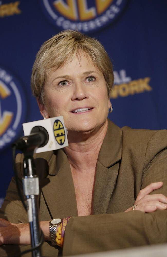 Tennessee coach Holly Warlick talks with reporters during the Southeastern Conference NCAA college basketball media day in Birmingham, Ala., Thursday, Oct. 17, 2013