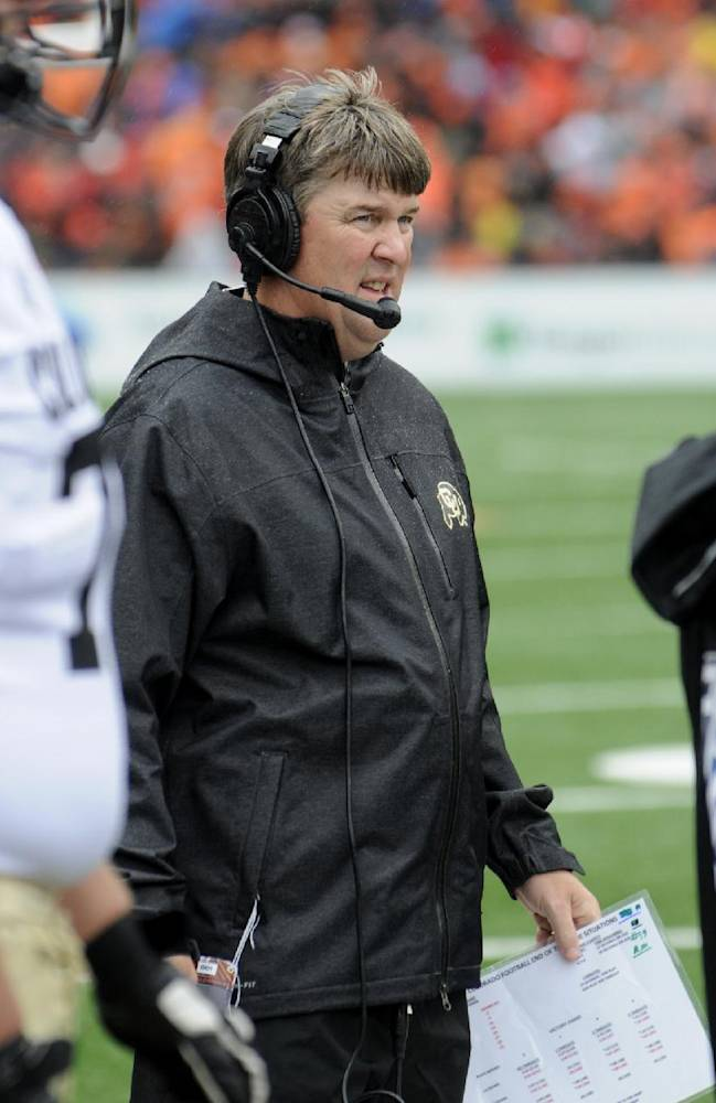 Colorado's head coach Mike Macintyre during the first half of an NCAA college football game against Oregon State on Saturday, Sept 28, 2013, in Corvallis, Ore