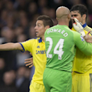 Everton's goalkeeper Tim Howard, centre, remonstrates with Chelsea's Diego Costa during their English Premier League soccer match at Goodison Park Stadium, Liverpool, England, Saturday Aug. 30, 2014