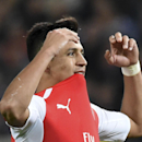 Arsenal's Alexis Sanchez gestures after missing a chance to score during the Group D Champions League match between Anderlecht and Arsenal at Constant Vanden Stock Stadium in Brussels, Belgium, Wednesday Oct. 22, 2014