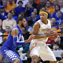 Tennessee forward Jarnell Stokes (5) works against Kentucky forward Willie Cauley-Stein (15) in the first half of an NCAA college basketball game on Saturday, Feb. 16, 2013, in Knoxville, Tenn. (AP Photo/Wade Payne)