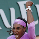 Serena Williams of the U.S. celebrates winning her the third round match of the French Open tennis tournament in three sets 3-6, 6-4, 6-2, against Victoria Azarenka of Belarus at the Roland Garros stadium, in Paris, France, Saturday, May 30, 2015. (AP Photo/Christophe Ena)