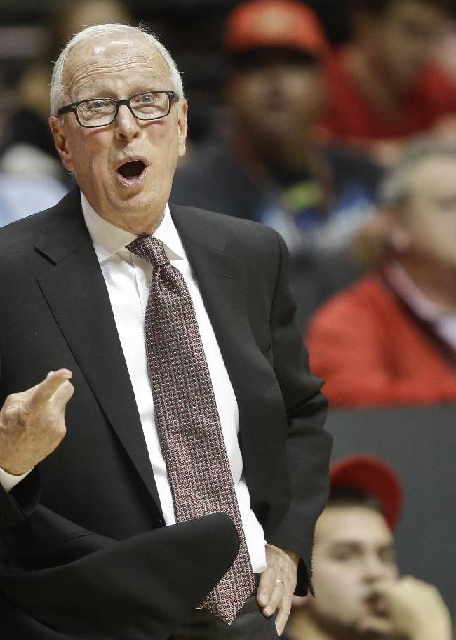 San diego State coach Steve Fisher tells a referee he's disagrees with a call  during the second half of San Diego State's 69-66 victory over Boise State  in an NCAA college basketball game Wednesday, Jan. 8, 2014, in San Diego