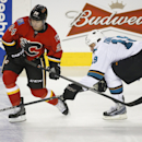 San Jose Sharks' Joe Thornton, right, stick checks Calgary Flames' Jiri Hudler, from the Czech Republic, during second period NHL hockey action in Calgary, Monday, March 24, 2014 The Associated Press