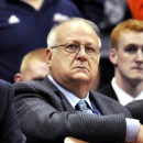 In this Monday, Nov. 14, 2011, photo, Syracuse basketball assistant coach Bernie Fine watches a college basketball game against Manhattan in the NIT Season Tip-Off in Syracuse, N.Y. ESPN reported Thursday, Nov. 17, that police were investigating Fine on allegations of child molestation. Shortly afterward, Syracuse placed Fine on administrative leave