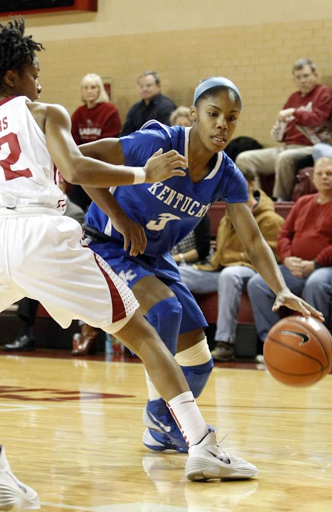 Kentucky's Janee Thompson (3) tries to dribble around Alabama defender Shafontaye Myers (12) during the first half of an NCAA college basketball game Thursday, Jan. 2, 2014, in Tuscaloosa, Ala. Kentucky won 85-63
