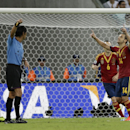 Spain's Roberto Soldado, right, celebrates scoring his side's 2nd goal during the soccer Confederations Cup group B match between Spain and Uruguay at the Arena Pernambuco in Recife, Brazil, Sunday, June 16, 2013. (AP Photo/Natacha Pisarenko)