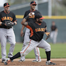 San Francisco Giants third baseman Pablo Sandoval, front, throws to second base as teammate Adam Duvall, left, and invitee Chris Dominguez, above right, look on during a spring training baseball practice Sunday, Feb. 23, 2014, in Scottsdale, Ariz The Asso