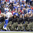 In this Nov. 17, 2013, photo, Buffalo Bills cheerleaders perform during the Bills' NFL football game against the New York Jets in Orchard Park, N.Y. The Bills will be playing without the support of their official cheerleaders this year. Stephanie Mateczun