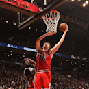 TORONTO, CANADA - March 25: Pau Gasol #16 of the Chicago Bulls goes up for a shot against the Toronto Raptors on March 25, 2015 at the Air Canada Centre in Toronto, Ontario, Canada. (Photo by Ron Turenne/NBAE via Getty Images)
