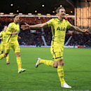Tottenham Hotspur's Harry Kane celebrates scoring his sides third goal of the game against West Bromwich during their English Premier League match at The Hawthornes, West Bromwich England, Saturday Jan. 31, 2015