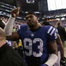 Indianapolis Colts&#039; Dwight Freeney reacts after the Colts defeated the Houston Texans, 28-16, in an NFL football game Sunday, Dec. 30, 2012, in Indianapolis. (AP Photo/AJ Mast)