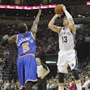 Memphis Grizzlies forward Mike Miller (13) shoots against New York Knicks guard Tim Hardaway, Jr. (5) in the second half of an NBA basketball game Tuesday, Feb. 18, 2014, in Memphis, Tenn. The Grizzlies won 98-93 The Associated Press