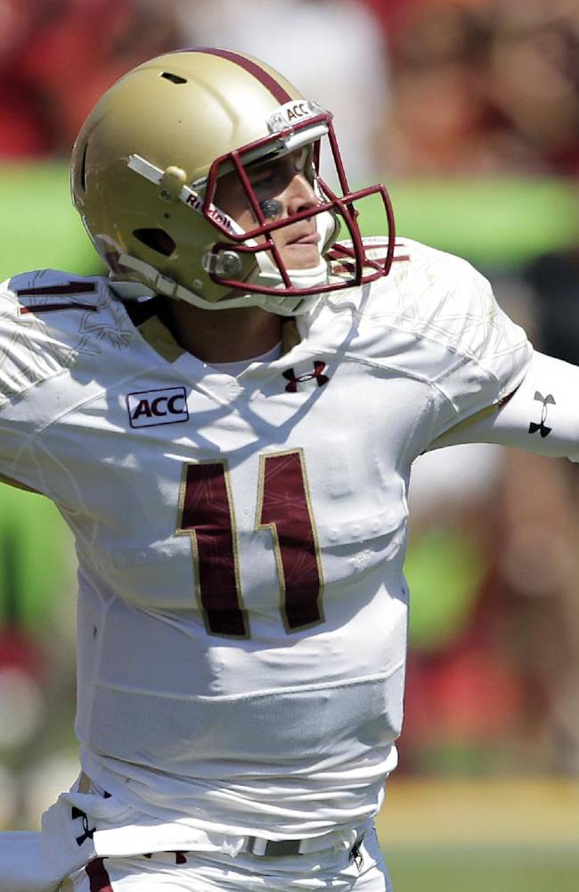 Boston College quarterback Chase Rettig passes against Southern California during the first half of an NCAA college football game in Los Angeles, Saturday, Sept. 14, 2013