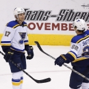 St. Louis Blues' Jaden Schwartz (17) smiles as teammate Kevin Shattenkirk (22) arrives to celebrate Schwartz's hat trick against the Arizona Coyotes, during the third period of an NHL hockey game Saturday, Oct. 18, 2014, in Glendale, Ariz. The Blues defe