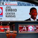 NEW YORK, NY - JUNE 26: A video screen shows the selection of Joel Embiid of Kansas as the #3 overall pick in the first round by the Philadelphia 76ers during the 2014 NBA Draft at Barclays Center on June 26, 2014 in the Brooklyn borough of New York City. (Photo by Mike Stobe/Getty Images)