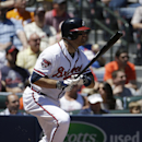 Atlanta Braves' Ryan Doumit singles to score teammate Chris Johnson in the fourth inning of a baseball game against the Miami Marlins, Wednesday, April 23, 2014, in Atlanta The Associated Press