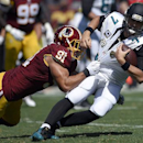 Washington Redskins outside linebacker Ryan Kerrigan (91) pulls down Jacksonville Jaguars quarterback Chad Henne (7) during the first half of an NFL football game Sunday, Sept. 14, 2014, in Landover, Md The Associated Press