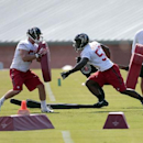 In this July 25, 2014 file photo, Atlanta Falcons linebackers Prince Shembo (53), right, and Paul Worrilow (55) work during an NFL football training camp in Flowery Branch, Ga. (AP Photo) The Associated Press