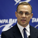 Tampa Bay Lightning general manager Steve Yzerman talks about the trade of team captain Martin St. Louis to the New York Rangers Wednesday, March 5, 2014, in Tampa, Fla. The Lightning got Ryan Callahan and a first and conditional second round draft pick i