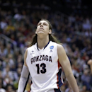 Gonzaga's Kelly Olynyk (13) looks up in the second half during a third-round game against Wichita State in the NCAA college basketball tournament in Salt Lake City Saturday, March 23, 2013. Wichita State defeated Gonzaga 76-70. (AP Photo/Rick Bowmer)