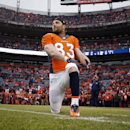 Denver Broncos wide receiver Wes Welker (83) stretches prior to an NFL divisional playoff football game against the Indianapolis Colts , Sunday, Jan. 11, 2015, in Denver The Associated Press
