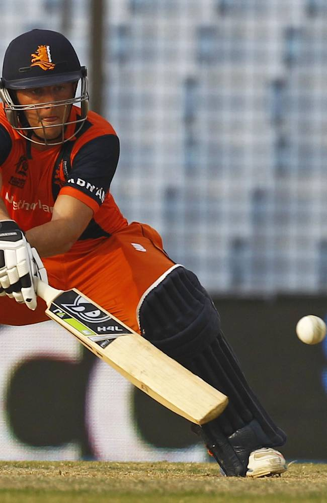 Netherlands' Wesley Barresi plays a shot during their ICC Twenty20 Cricket World Cup match against England in Chittagong, Bangladesh, Monday, March 31, 2014