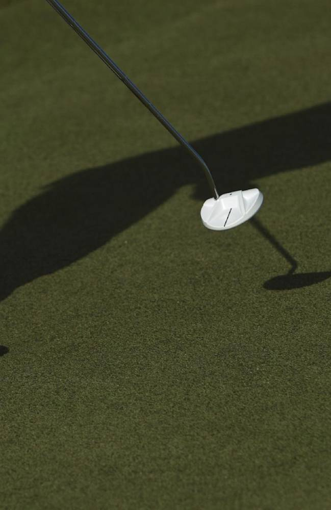 Camilo Villegas, from Colombia, plays the ball on the fourth green during the third day of the OHL Classic at Mayacoba golf tournament in Quintana Roo, Mexico, Saturday, Nov. 16, 2013