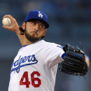 Los Angeles Dodgers starting pitcher Mike Bolsinger throws to the plate during the first inning of a baseball game against the San Diego Padres, Saturday, May 23, 2015, in Los Angeles. (AP Photo/Mark J. Terrill)