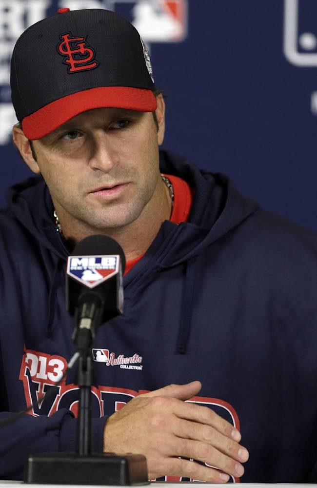 St. Louis Cardinals manager Mike Matheny answers a question during a baseball news conference Friday, Oct. 25, 2013, in St. Louis. The Cardinals and Boston Red Sox are set to play Game 3 of the World Series on Saturday in St. Louis