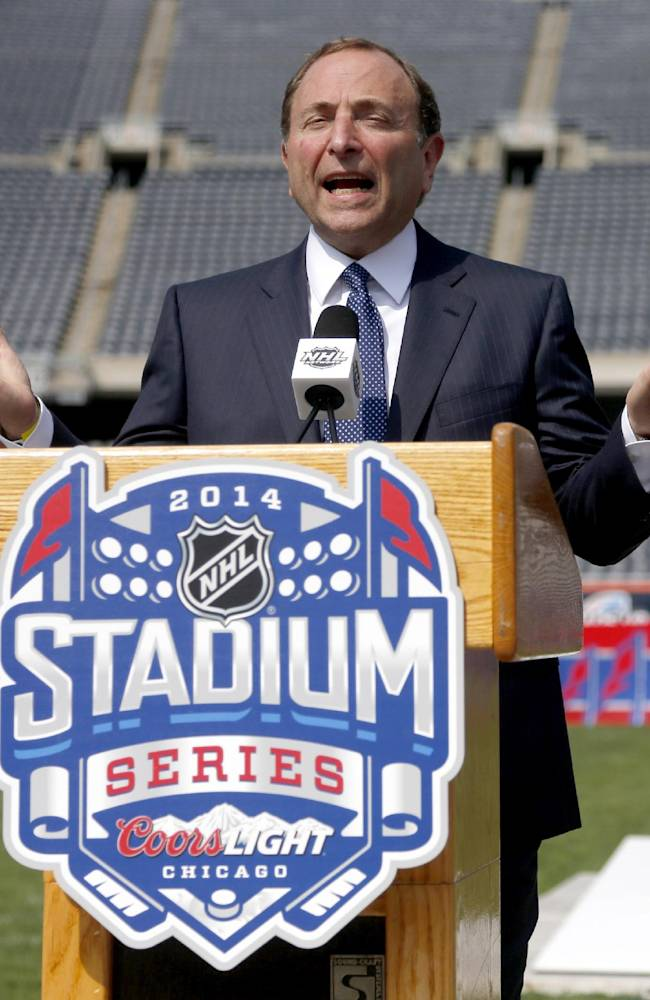 NHL Commissioner Gary Bettman talks about the Stadium Series hockey game between the Chicago Blackhawks and Pittsburgh Penguins to be held next March, during a news conference Thursday, Sept. 19, 2013, at Soldier Field in Chicago