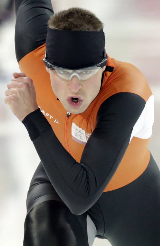 Speedskater Sven Kramer of the Netherlands trains at the Adler Arena Skating Center during the 2014 Winter Olympics in Sochi, Russia, Friday, Feb. 7, 2014