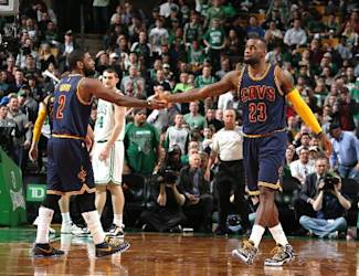 BOSTON, MA - APRIL 23: Kyrie Irving #2 and LeBron James #23 of the Cleveland Cavaliers during the game against the Boston Celtics during Game Three of the Eastern Conference Quarterfinals of the 2015 NBA Playoffs on April 23, 2015 at the TD Garden in Boston, Massachusetts. (Photo by Nathaniel S. Butler/NBAE via Getty Images)