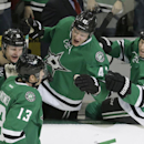 Dallas Stars left wing Ray Whitney (13) celebrates scoring a goal with teammates Antoine Roussel (21), Valeri Nichushkin (43) and Cody Eakin (20) during the first period of an NHL hockey game against the Winnipeg Jets Monday, March 24, 2014, in Dallas. T