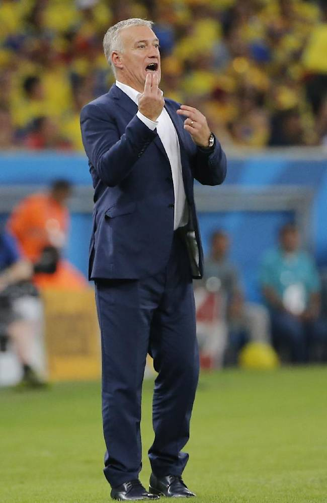 France's head coach Didier Deschamps directs his players during the group E World Cup soccer match between Ecuador and France at the Maracana stadium in Rio de Janeiro, Brazil, Wednesday, June 25, 2014