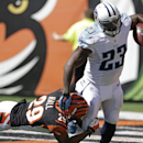 Tennessee Titans running back Shonn Greene (23) is tackled by Cincinnati Bengals cornerback Leon Hall (29) in the first half of an NFL football game, Sunday, Sept. 21, 2014, in Cincinnati The Associated Press