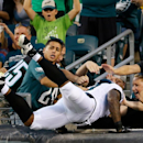 Philadelphia Eagles' Arrelious Benn leaps into the stands after scoring a touchdown during the first half of an NFL preseason football game against the New York Jets, Thursday, Aug. 28, 2014, in Philadelphia The Associated Press
