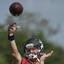 Jacksonville Jaguars quarterback Chad Henne (7) throws a pass during NFL football training camp in Jacksonville, Fla., Friday, July 25, 2014 The Associated Press