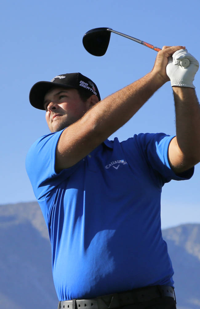 Patrick Reed hits from the 13th tee during the third round of the Humana Challenge PGA golf tournament on the Nicklaus Private course at PGA West, Saturday, Jan. 18, 2014, in La Quinta, Calif