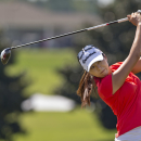 Mi Jung Hur tees off during the final round of the LPGA Classic golf tournament at Capitol Hill on Sunday, Sept. 21, 2014, in Prattville, Ala. (AP Photo/Brynn Anderson)