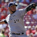Milwaukee Brewers starting pitcher Yovani Gallardo throws against the Cincinnati Reds in the fourth inning of a baseball game, Thursday, Sept. 25, 2014, in Cincinnati The Associated Press