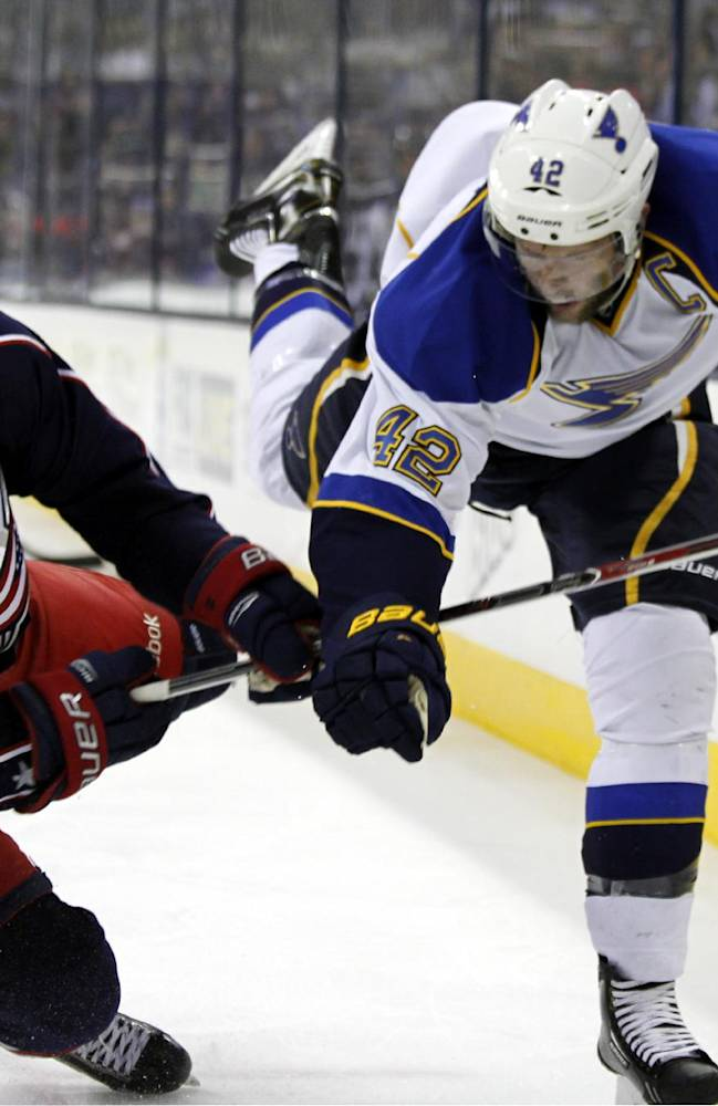 Columbus Blue Jackets' Boone Jenner, left, collides with St. Louis Blues' David Backes in the second period of an NHL hockey game in Columbus, Ohio, Saturday, Dec. 14, 2013