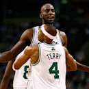 BOSTON, MA - FEBRUARY 13: Kevin Garnett #5 and Jason Terry #4 of the Boston Celtics celebrate after a foul against the Chicago Bulls during the game on February 13, 2013 at TD Garden in Boston, Massachusetts. (Photo by Jared Wickerham/Getty Images)
