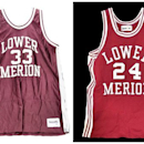 This image provided by Goldin Auctions on Friday, May 3, 2013, shows Lower Merion High School basketball jerseys worn by Los Angeles Lakers star Kobe Bryant. Goldin Auctions is suing for the right to sell the stuff after the NBA star's lawyers wrote the firm to say it could not. Bryant contends that his mother, Pamela Bryant, doesn't have the right to sell the collectibles including his high school letters, a 2000 NBA championship ring and hundreds of other items.  (AP Photo/Goldin Auctions)